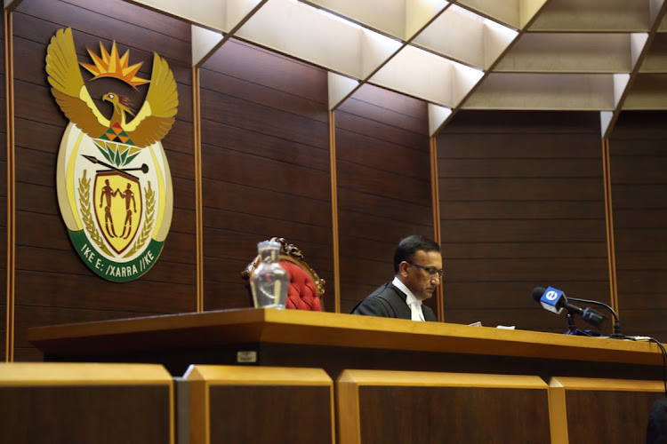 Judge Rishi Seegobin delivers the first judgment in the Pietermaritzburg High Court on 15 December 2017.