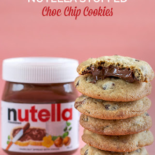 Nutella Stuffed Choc Chip Cookies with Sea Salt