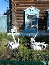 Photo: Swan planters made out of old tires- very popular in Siberia