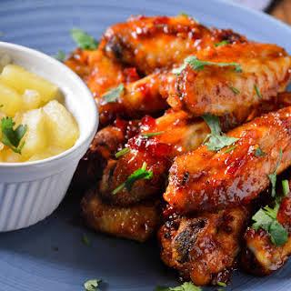 Peri Peri & Pineapple Glazed Chicken Wings.