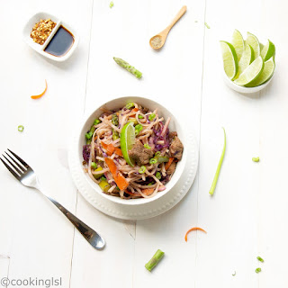 Rice Noodles Stir Fry With Vegetables and Beef