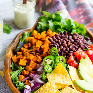 Sweet Potato Taco Salad with Pepper Greens & Jalapeno Cashew Ranch