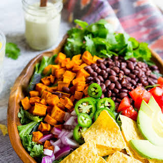 Sweet Potato Taco Salad with Pepper Greens & Jalapeno Cashew Ranch.