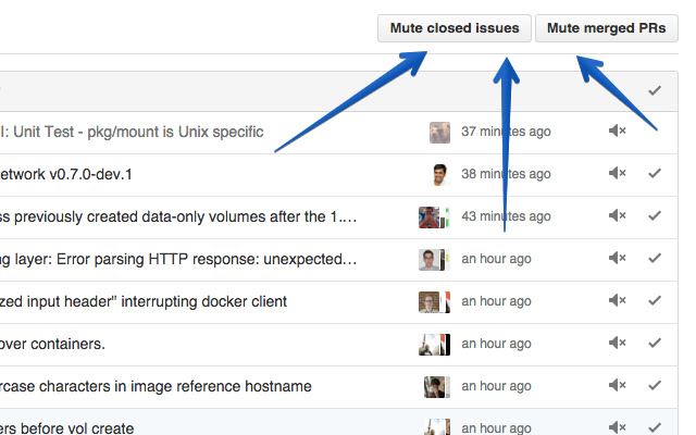 GitHub mute all buttons