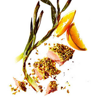Pistachio-Crusted Salmon With Spring Onions