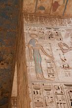 Photo: Medinat Habu, second court, Ramses III offering to Hathor?