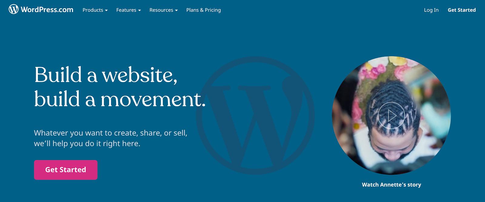 Wordpress.com screen