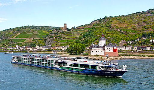 Avalon Felicity cruises past the 14th century Pfalzgrafenstein Castle in Germany.
