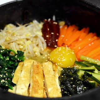 Vegetarian Korean Dolsot Bibimbap.