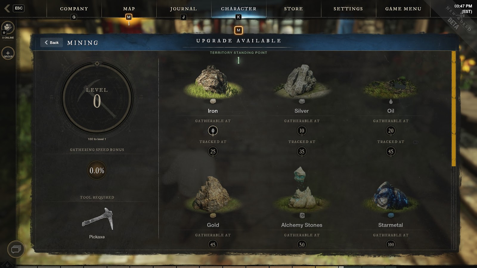New world Mining skill