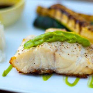 Grilled Red Snapper with Wasabi Avocado Sauce.