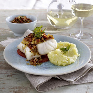 Baked Cod With Buttermilk Mashed Potatoes and Pesto.
