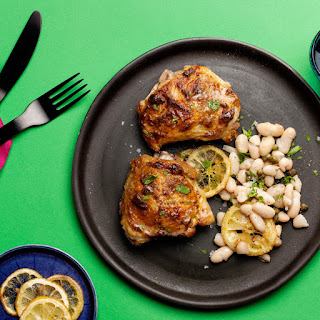 Roasted Chicken Thighs with White Beans, Lemon, and Capers recipe   Epicurious.com.