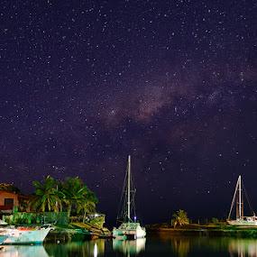 Milky Way Marina by Rob Rickman - Landscapes Starscapes ( reflection, pwcstars, stars, yacht, milky, galaxy )