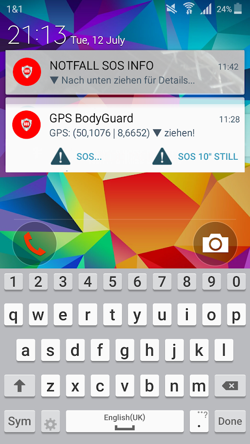 "SOS Emergency ""GPS BodyGuard""- screenshot"