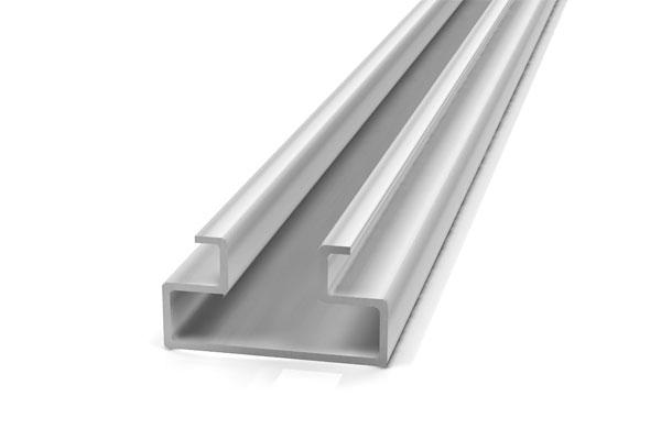 riel de aluminio especial para enfundar panel ranurado