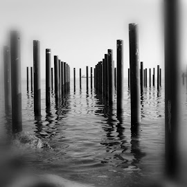 Abstract place by Florentina  Arvanitaki - Black & White Abstract ( pattern, abstract, black and white, repetition, landscape, sea )