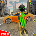 Green Stickman Gangster Crime Rope Hero icon
