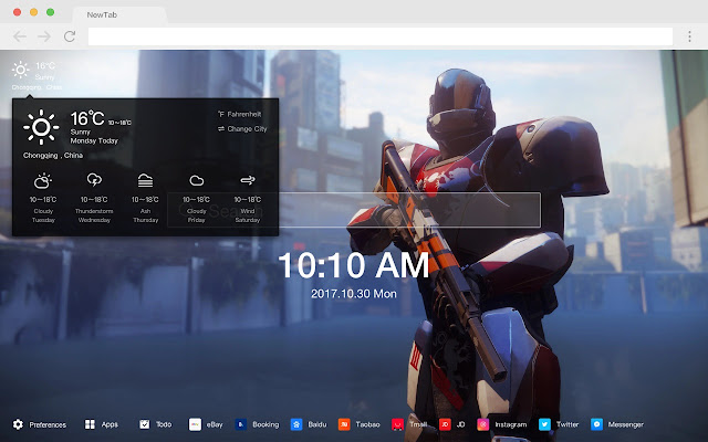 Destiny 2 New Tab Page HD Games Theme