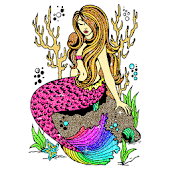 Mermaid Glitter Color by Number:Pixel Art Coloring