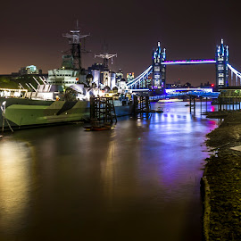 Night in London by Charles Ong - City,  Street & Park  Night ( lights, war ship, london, ship, tower bridge, night, battership )