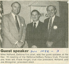 Photo: Vice-President Frank Knight, Deltona Fire Chief Mike Holland, President Joe Mongolier - December 3, 1992