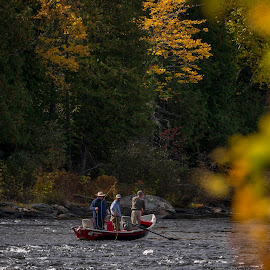 Fishermen on River by Dale Fillmore - Sports & Fitness Other Sports ( sports, fishing, autumn, river, water )