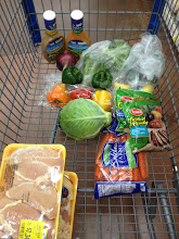 Photo: I also found great deals on boneless skinless chicken breasts and bone-in chicken breasts.  Both were over $3 off!  Yea for savings.  I needed the bone-in chicken breasts to make soup this week.  In addition to cabbage, peppers, broccoli, carrots, onion, and salad dressing I needed for the Grilled Chicken, Broccoli and Cabbage Salad I also picked up squash and zucchini for the soup.