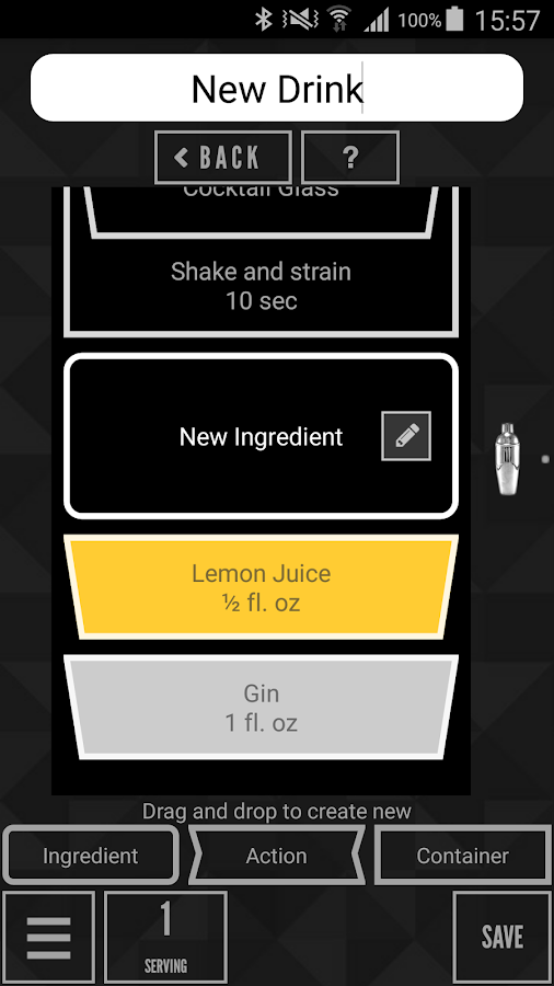 Drink Mixing App Android