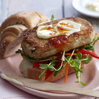 Wasabi Salmon Burgers.