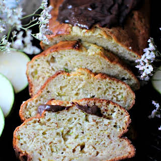 Zucchini Banana Bread with Yogurt, Vanilla Beans and Chocolate Ganache.