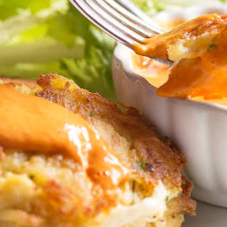 Spanish Crab Cakes with a Creamy Roasted Red Pepper Sauce.