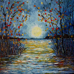 Moon over the lake by Amas Art - Painting All Painting ( moon, blue, lake, night, painting )