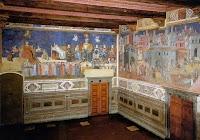Ambrogio Lorenzetti,Allegoria del Buon Governo. La parete Nord ed un scorcio della parete Est (Effetti del Buon Governo in città) della Sala dei Nove del Palazzo Pubblico