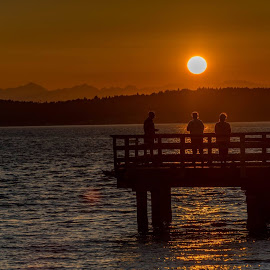 Sunset at the Pier by Jerry Cahill - Buildings & Architecture Bridges & Suspended Structures (  )