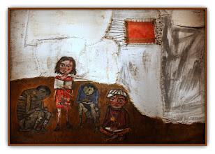 Photo: Antonio Berni Juanito Laguna aprende a leer 1961. 210 × 300 cm. Óleo, hilo de algodón y chapa metálica sobre arpillera. Museo Nacional de Bellas Artes, Buenos Aires. Expo: Antonio Berni. Juanito y Ramona (MALBA 2014-2015)