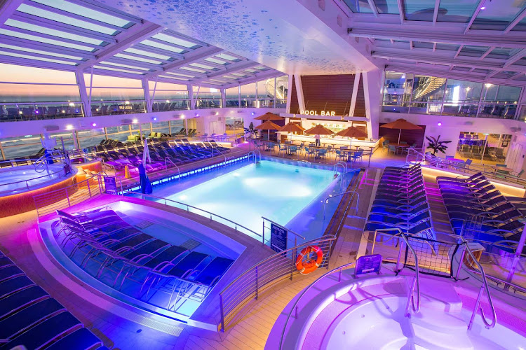 The Pool Bar, located deck 14 mid-ship, offers an enclosed swimming pool on Royal Caribbean's Anthem of the Seas.