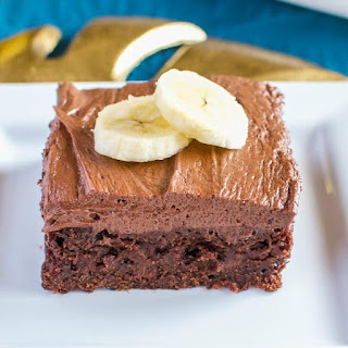 Banana Brownies with Peanut Butter Fudge Frosting.