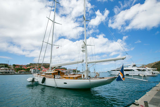 st-barts-boat-in-harbor.jpg - A yacht/sailing vessel in Gustavia Harbour.