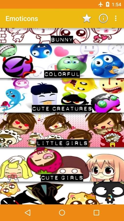 Emoticons para bate-papos: captura de tela