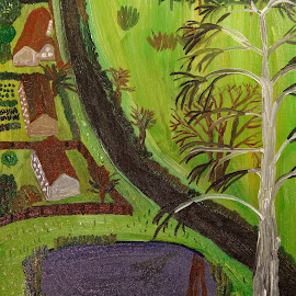 village by Paul Robin Andrews - Painting All Painting ( village, trees, pond, lane )