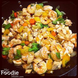 Simple Shrimp and Chicken Stir Fry.