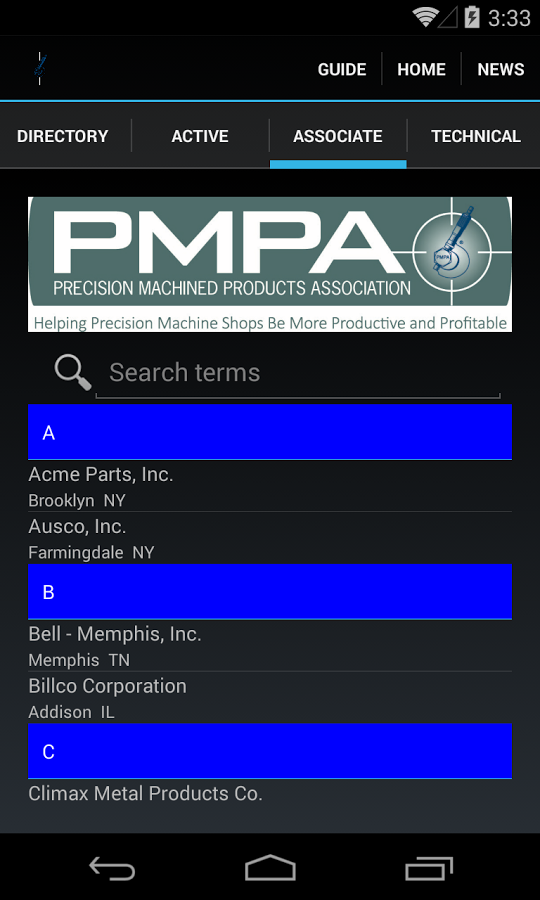 PMPA Directory- screenshot