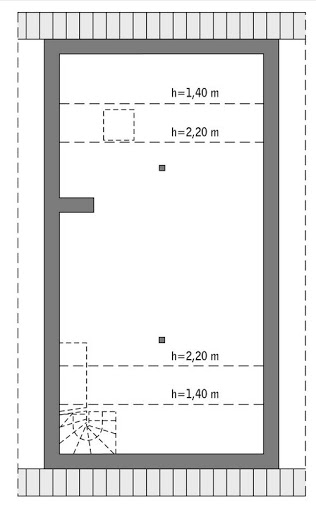 Elastyczny - C346 - Rzut poddasza do indywidualnej adaptacji (45,1 m2 powierzchni użytkowej)