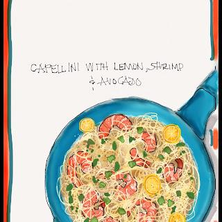 Capellini with Lemon, Shrimp, and Avocado.