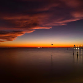 Lights of Fairhope Pier by Stanley Nations  - Landscapes Cloud Formations ( color, waterscape, sunset, light reflections )