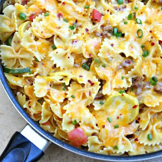 One Pot Cheesy Sausage Skillet Pasta Recipe