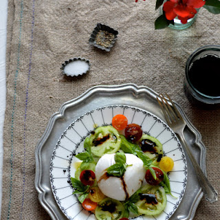 Heirloom Tomato and Burrata Salad with Basil Chili Oil and Aged Balsamic Reduction