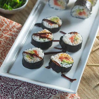 Spicy Salmon Maki Rolls.