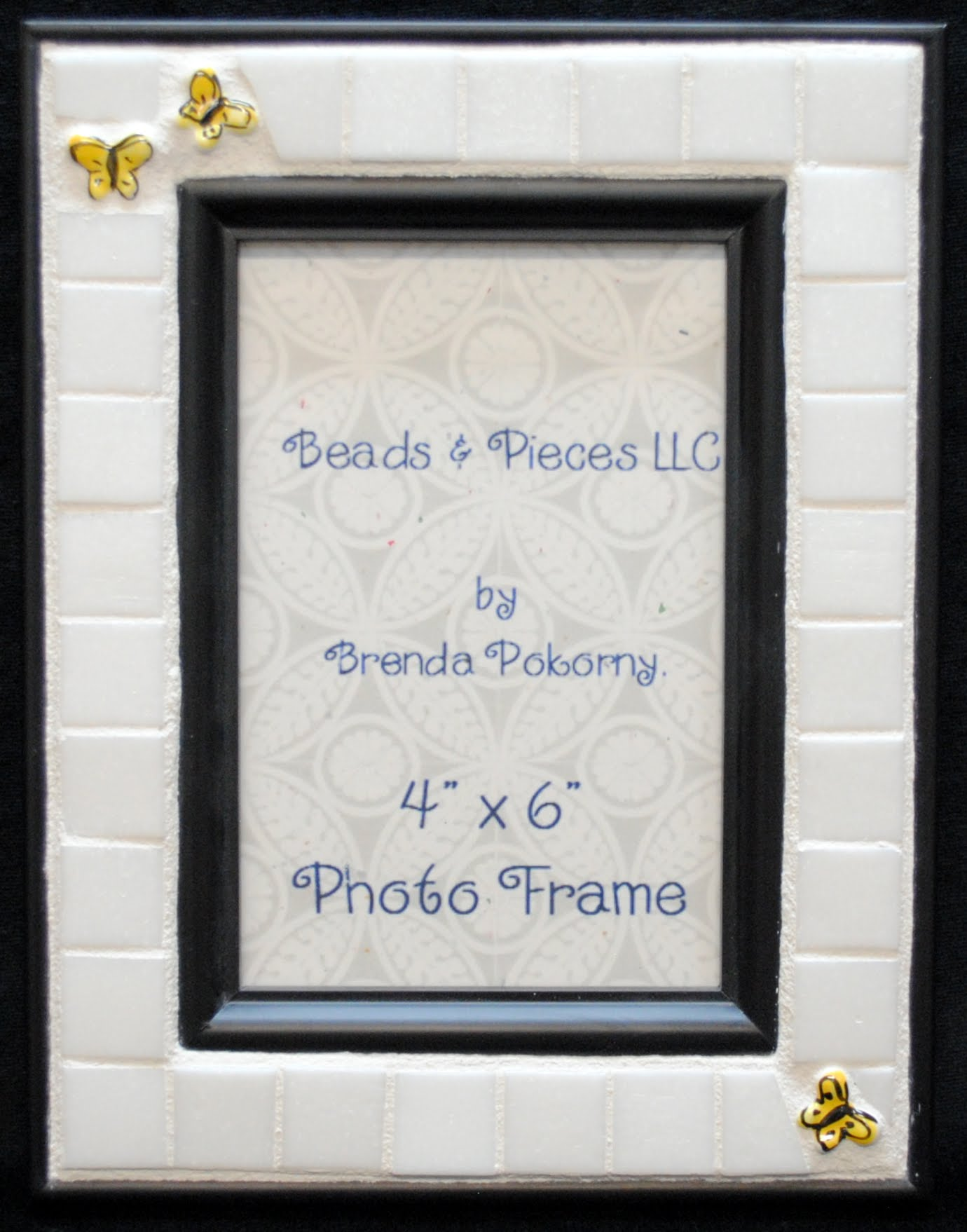 "3 Yellow Butterflies on White 4"" x 6"" Mosaic Photo Frame MOF1246"